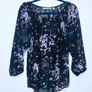 LC Lauren Conrad Sheer Black Floral Print Blouse